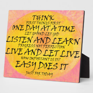 Recovery Slogans Yellow Pink Plaque