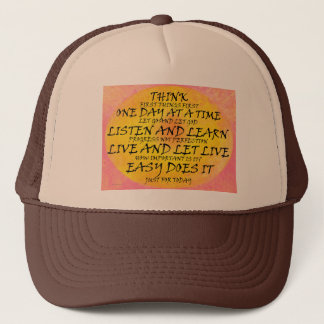 Recovery Slogans Yellow Pink Trucker Hat