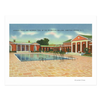 Recreation Bldg Interior Court and Pool View Postcard