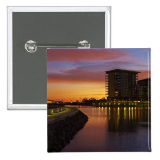 Recreation Lagoon and apartments at sunset 15 Cm Square Badge
