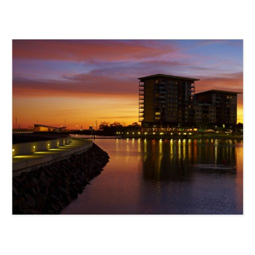 Recreation Lagoon and apartments at sunset Post Card