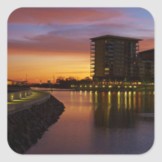 Recreation Lagoon and apartments at sunset Square Sticker