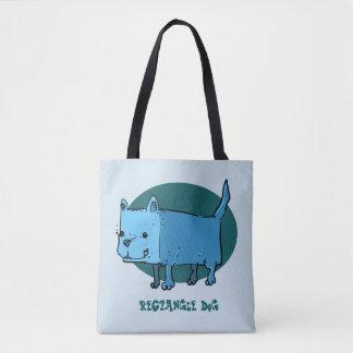 rectangle dog funny cartoon tote bag