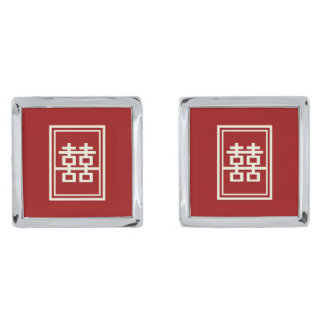 Rectangle Double Happiness Classic Chinese Wedding Silver Finish Cufflinks