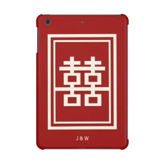 Rectangle Double Happiness Red Chinese Wedding