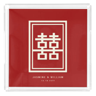 Rectangle Double Happiness Red Chinese Wedding Acrylic Tray