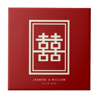 Rectangle Double Happiness Red Chinese Wedding Ceramic Tile