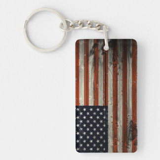 Rectangle Keychain  with American Wood Flag Print