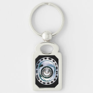 Rectangle Metal Rotary Keychain Silver-Colored Rectangle Key Ring
