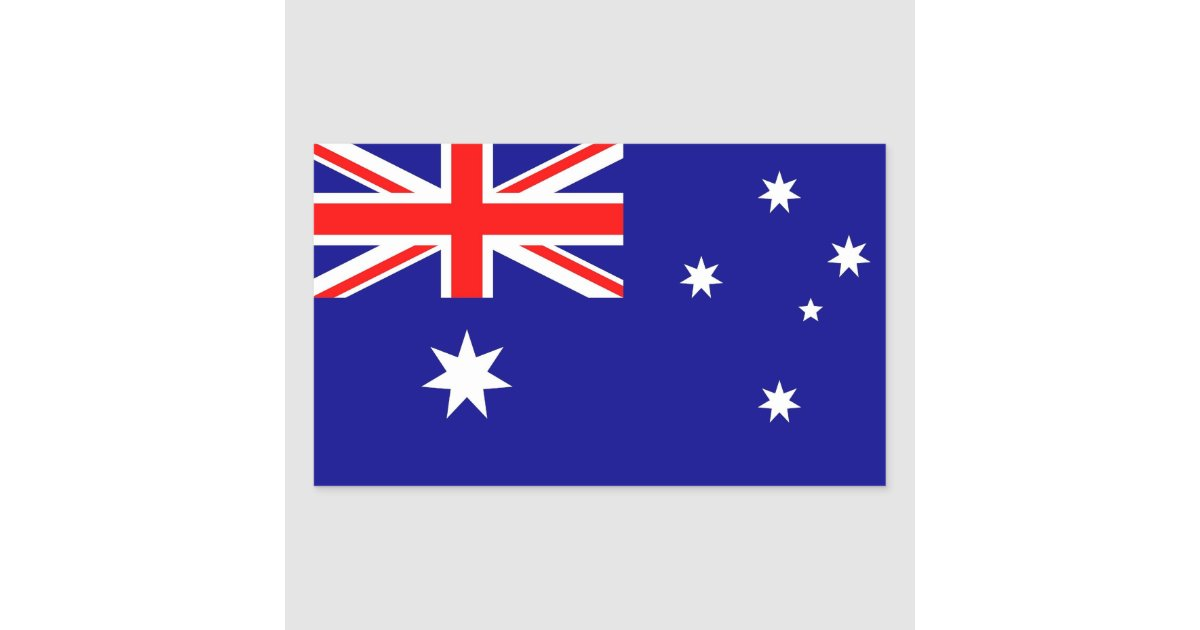 Rectangle sticker with flag of australia zazzle com au
