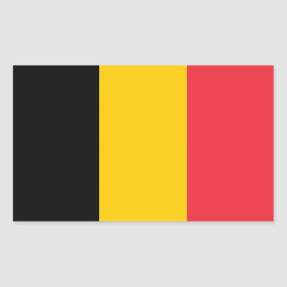 Rectangle sticker with Flag of Belgium