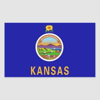 Rectangle sticker with Flag of Kansas, U.S.A.