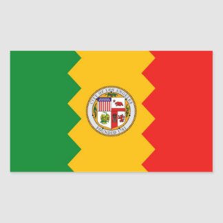 Rectangle sticker with Flag of Los Angeles