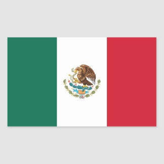 Rectangle sticker with Flag of Mexico