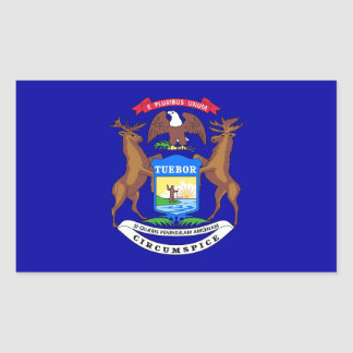 Rectangle sticker with Flag of Michigan, U.S.A.