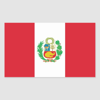 Rectangle sticker with Flag of Peru