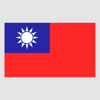 Rectangle sticker with Flag of Taiwan