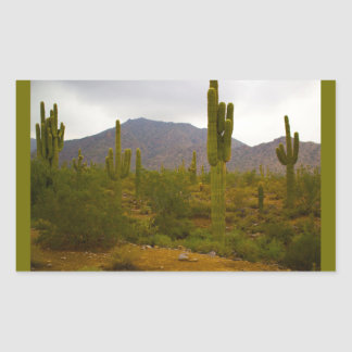 Rectangle Stickers, Glossy Bright Sahuaro Cacti Rectangular Sticker