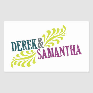 Rectangle Wedding Logo Sticker