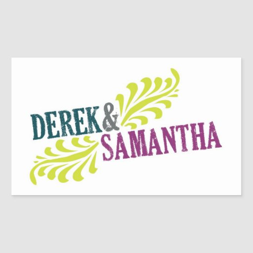 Rectangle Wedding Logo Sticker