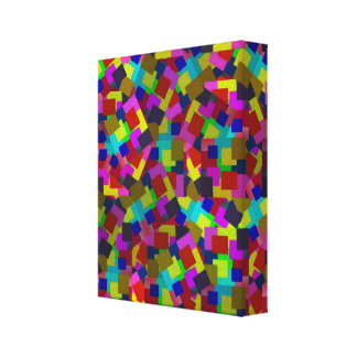 Rectangles Abstract Coloured Scattered Paper Canvas Print