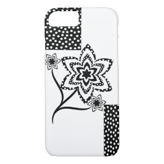 Rectangles and flowers in black and white iPhone 7 case
