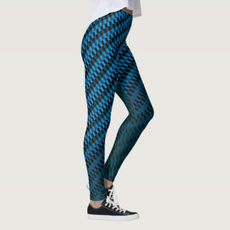Rectangles Geometric Pattern Black and Blue Ombre Leggings