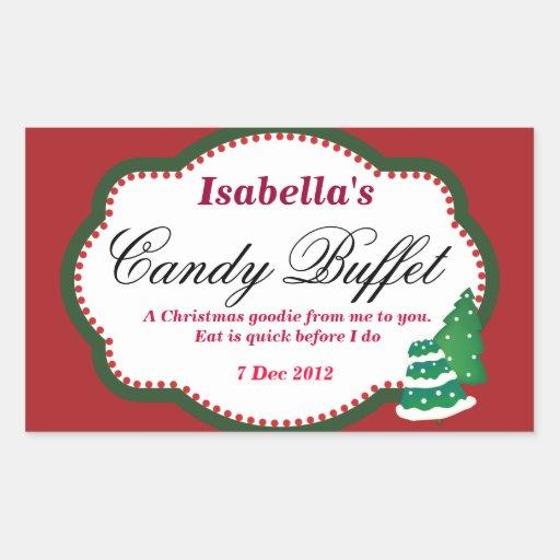 Rectangular Christmas tree Candy Buffet Sticker
