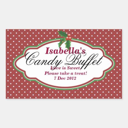 Rectangular Dotty Christmas Candy Buffet Sticker
