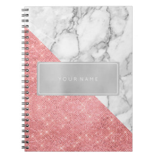 Rectangular Pink Rose Gold Powder Metallic Marble Notebook
