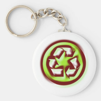 Recycle 4 basic round button key ring