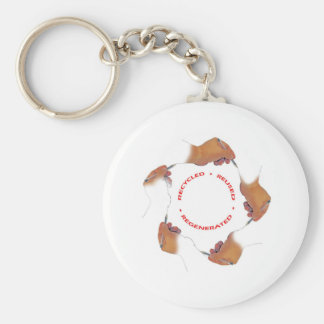 Recycle a hand drawing a hand... basic round button key ring