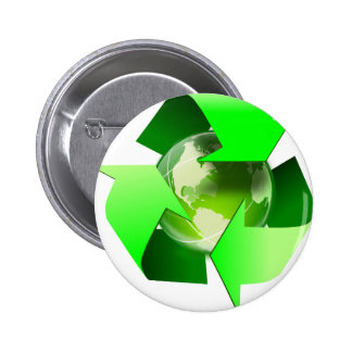 Recycle and save the world. 6 cm round badge