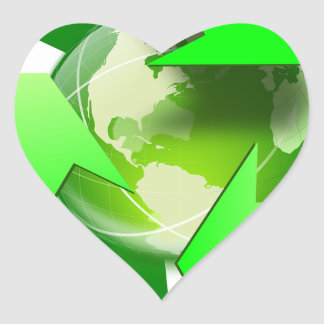 Recycle and save the world. heart sticker
