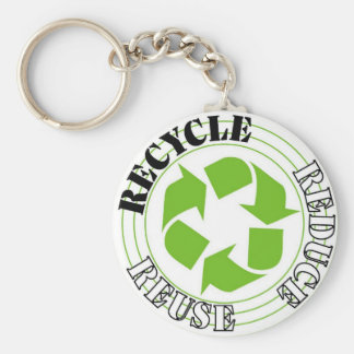 recycle basic round button key ring