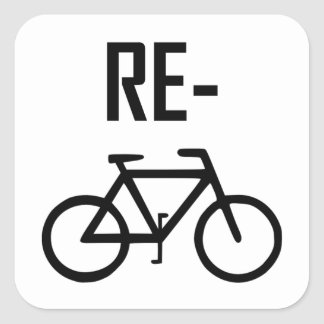 Recycle Bicycle Bike Square Sticker