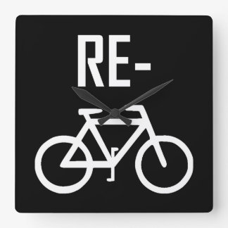 Recycle Bicycle Bike Square Wall Clock