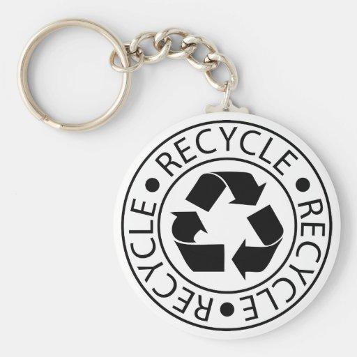 Recycle Black Logo Keychain