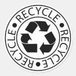 Recycle Black Logo Round Sticker