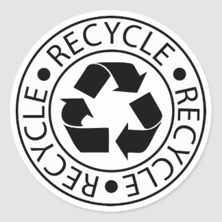 Recycle Black Logo Classic Round Sticker