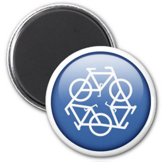 recycle-blue 6 cm round magnet