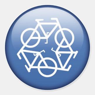 recycle-blue round sticker