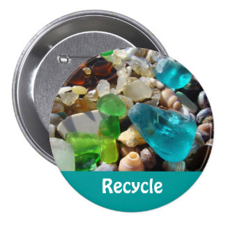 Recycle buttons Personalize Ocean Sea Glass