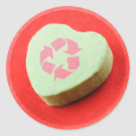 Recycle Candy Heart Round Sticker