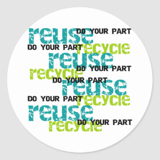Recycle Do Your Part Round Sticker