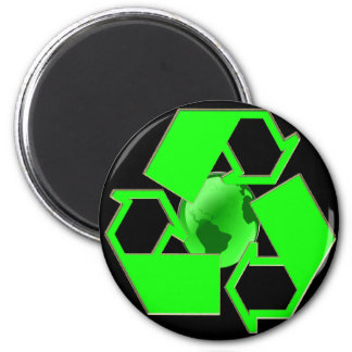Recycle Earth 2- Save the Earth- Go Green 6 Cm Round Magnet