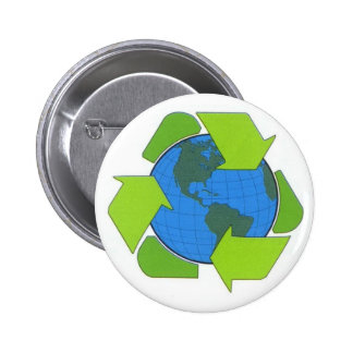 recycle earth 6 cm round badge
