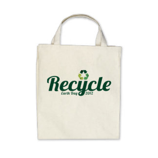 Recycle - Earth Day 2012 - Organic Grocery Tote Tote Bags