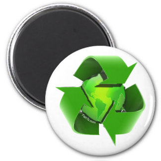 Recycle Earth-Go Green-Save the Earth 6 Cm Round Magnet