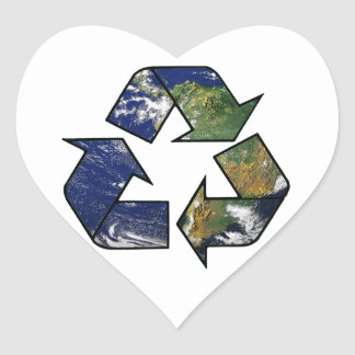 Recycle Earth Heart Sticker